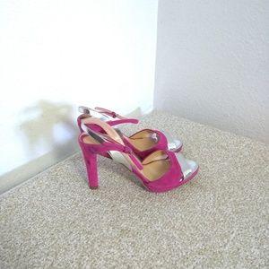 Sergio Rossi Pink & Silver Strappy Sandals